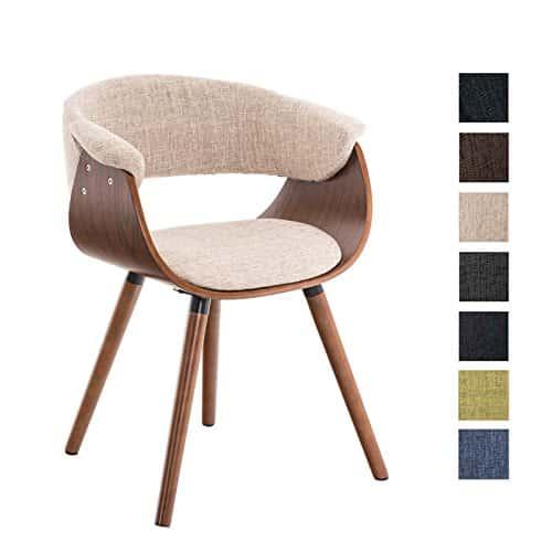 CLP Esszimmer-Stuhl PIRMA Stoffbezug, Holzgestell walnuss, Gastro-Stuhl mit Armlehne creme