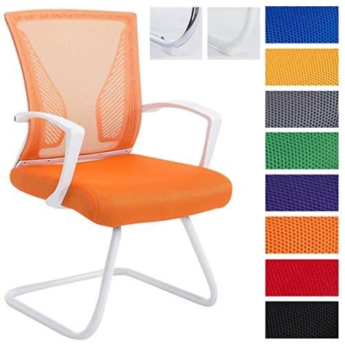 CLP Freischwinger Stuhl mit Armlehne BONNIE, Besucherstuhl, Metallgestell, Netzbezug, belastbar ca. 130 kg Gestell weiß, Bezug orange