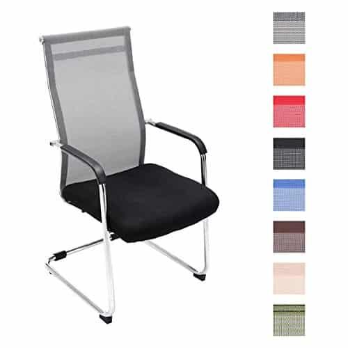 CLP Freischwinger-Stuhl mit Armlehne BRENDA, Netzbezug, Besucherstuhl / Konferenzstuhl gepolstert grau