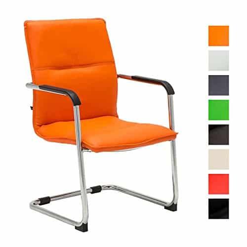CLP Freischwinger-Stuhl mit Armlehne SEATTLE, Besucherstuhl, Konferenzstuhl gepolstert orange