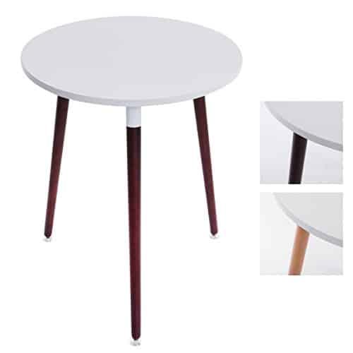 CLP Küchen-Tisch AMALIE, rund Ø 60 cm, Dreibein, Holz, Design, mit Bodenschoner, Tischplatte: weiß / Gestell: cappuccino