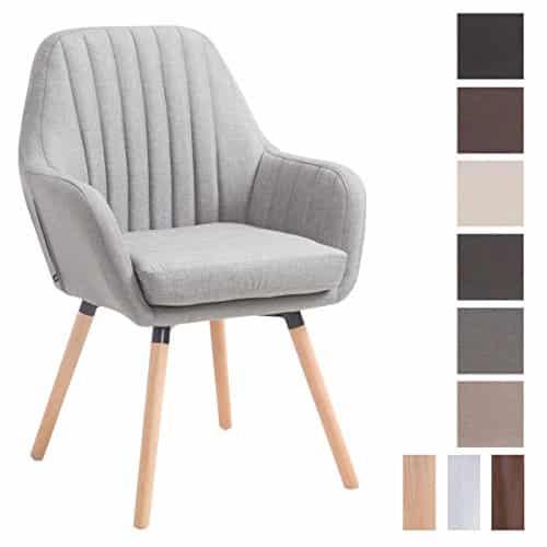 CLP Retro-Stuhl mit Armlehne FLORIAN, Stoff-Bezug, XL bis 160 kg, sesselförmiger Sitz, gepolstert, Sitzhöhe 53 cm Grau, Holzgestell Farbe: Natura