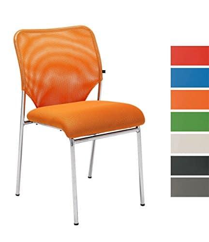 CLP Stapel-Stuhl KLINT, Konferenzstuhl / Besucherstuhl, Netzbezug, gepolstert orange