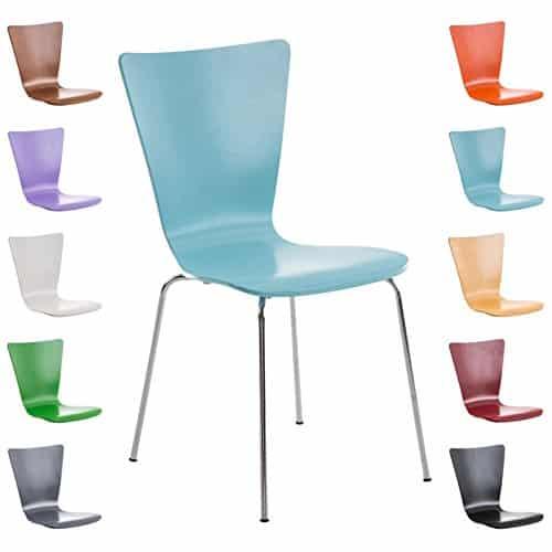 CLP Stapelstuhl AARON, Besucherstuhl mit Holzsitz, ergonomisch geformt hellblau