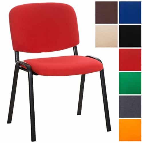 CLP Stapelstuhl KEN V2 mit Stoff-Bezug, stapelbarer Besucherstuhl - preiswert, robust, einfach bequem, gepolsterter Konferenzstuhl in verschiedenen Farben Rot