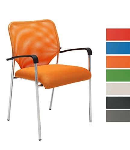 CLP Stuhl CUBA mit Armlehne, Stapelstuhl / Besucherstuhl, Sitzfläche gut gepolstert orange