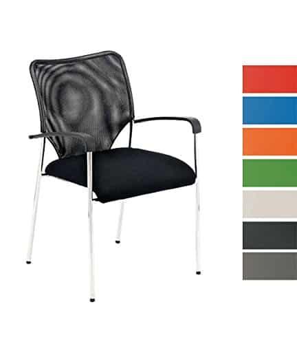CLP Stuhl CUBA mit Armlehne, Stapelstuhl / Besucherstuhl, Sitzfläche gut gepolstert schwarz