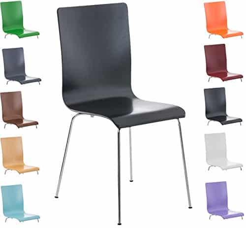 CLP Wartezimmer-Stuhl PEPE, Holzsitz, ergonomisch geformt, robust, pflegeleicht schwarz
