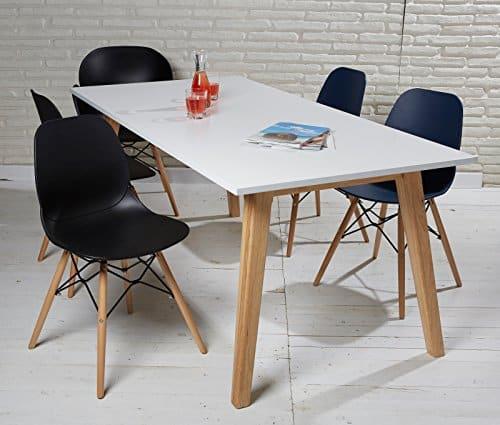 Esszimmertisch Esstisch Retro Design weiß natur 180 x 90 cm Tisch Klassiker Modern Chic