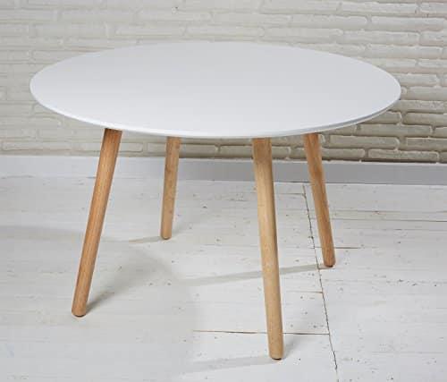 Esszimmertisch rund 110cm Durchmesser in weiß aus Holz - Retro Tisch Holzbeine Esstisch