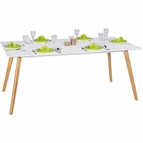 FineBuy Esszimmertisch 180 x 76 x 90 cm aus MDF Holz | Esstisch mit Tischplatte in weiß | Robuster Küchen-Tisch im Retro Stil | Holz-Tisch in skandinavischem Design | Untergestell in Eichefurnier