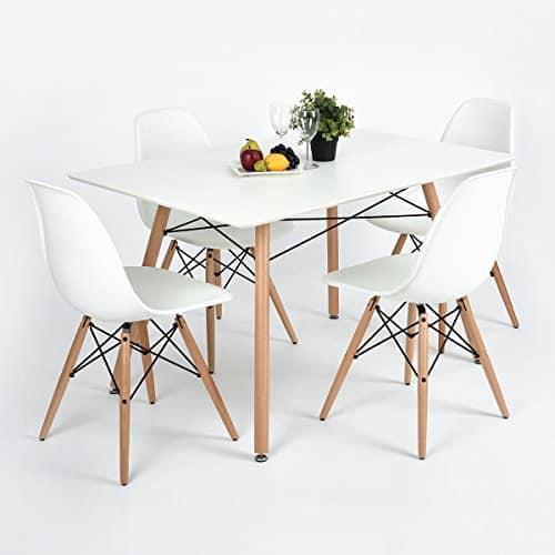 FurnitureR Esstisch Moderne Retro-Design quadratisch Schreibtisch mit Holz Beine weiß