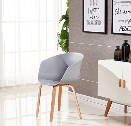P & N Homewares® Marcelo Tub Stuhl Moderne und Retro Esszimmer Stuhl oder Büro Stuhl oder Wohnzimmer Stuhl Verschiedene Farben Weiß Schwarz Grau Rot Braun Rosa Gelb und viele mehr skandinavischen Wanne Farben (GRAU)