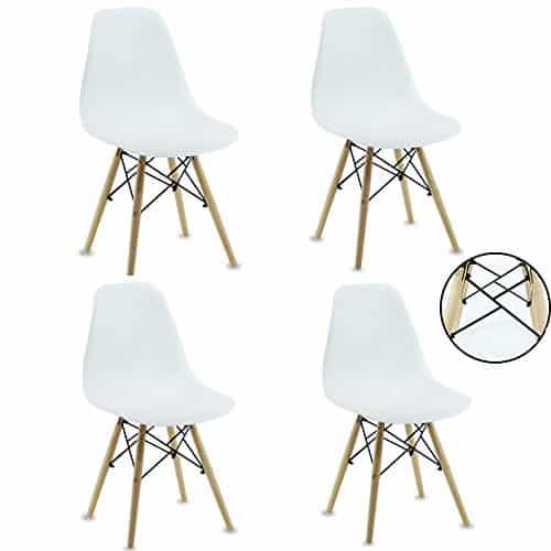 P & N Homewares® Set von 4Romano DS Moda Stuhl Kunststoff Retro Esszimmer Stühle weiß schwarz grau rot gelb pink grün blau weiß