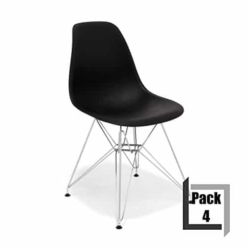 Pack von 4Stühle Tower replica Eames, hochwertige Polypropylen und Füße Stahl–Weiß Schwarz