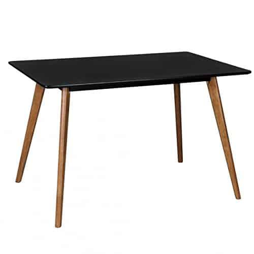 Retro Esstisch Schwarz Matt Lackiert Holz 120 x 80 x 75 cm | MDF Esszimmertisch mit Holzfüßen | Küchentisch Skandinavisch