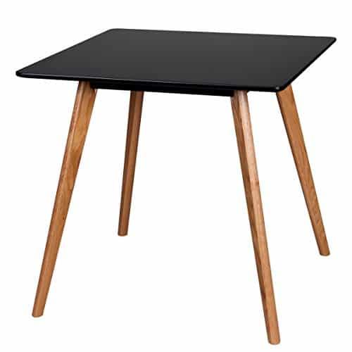 Retro Esstisch Schwarz Matt Lackiert Holz 80 x 80 x 75 cm | MDF Esszimmertisch mit Holzfüßen | Küchentisch Skandinavisch