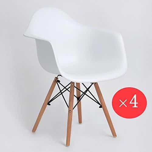 eggree Pack-Stühle Esszimmer, Polypropylen und aus Buchenholz, weiß, 62x 63x 82cm, 4Stück