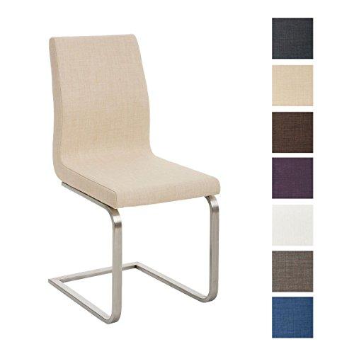 CLP Design Esszimmer-Stuhl BELFORT, Edelstahl Freischwinger Stuhl, Stoffbezug, FARBWAHL creme