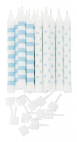 """Candle """"Party"""" turquoise dots/stripe 12 pcs. H:8cm"""