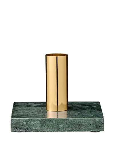 Candle Stick, Green Marble w/Gold Tube W10xL10xH8,5 cm, Candle Ø2 cm [W]