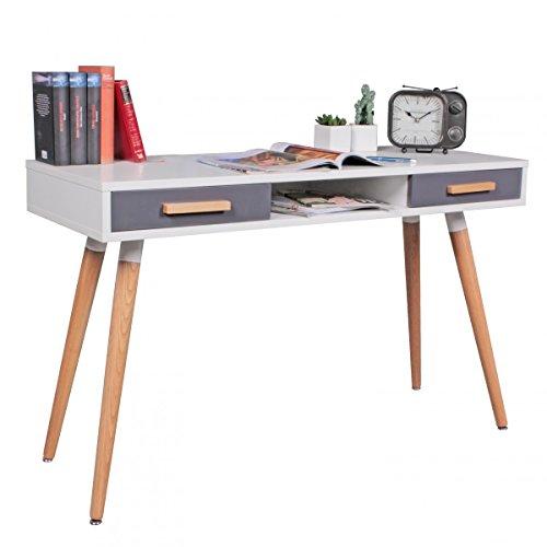 FineBuy Design Retro Konsolentisch Skandinavisch mit 2 Schubladen Weiß Blau   Kleiner Schreibtisch mit Ablage 120 x 45 x 75 cm   Moderne Hochwertige Tisch Konsole mit Holzbeinen   Matt Lackiert