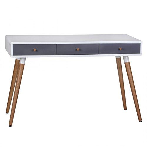 FineBuy Design Retro Konsolentisch Skandinavisch mit 3 Schubladen Weiß Blau   Kleiner Schreibtisch mit Ablage 120 x 55 x 75 cm   Moderne Hochwertige Tisch Konsole mit Holzbeinen   Matt Lackiert