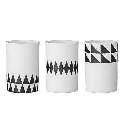 Kerzenhalter Votive, weiß/schwarz mit Triangle Muster (3er-Set)