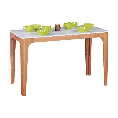 WOHNLING Esszimmertisch 120 x 76 x 60 cm aus MDF Holz   Esstisch mit Tischplatte in weiß   Robuster Küchen-Tisch im Retro Stil   Holz-Tisch in skandinavischem Design   Untergestell in Eschefurnier