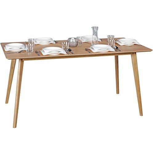 WOHNLING Esszimmertisch 160 x 76 x 90 cm aus MDF Holz   Esstisch mit quadratischer Tischplatte   Robuster Küchen-Tisch im Retro Stil   Holz-Tisch in skandinavischem Design   Tisch in Eichenfurnier