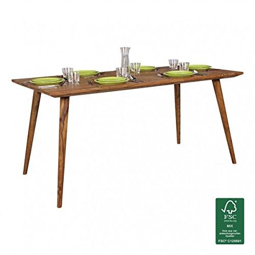 WOHNLING Esszimmertisch REPA 160 x 80 x 76 cm Sheesham rustikal Massiv-Holz   Design Landhaus Esstisch   Tisch für Esszimmer groß   6 - 8 Personen