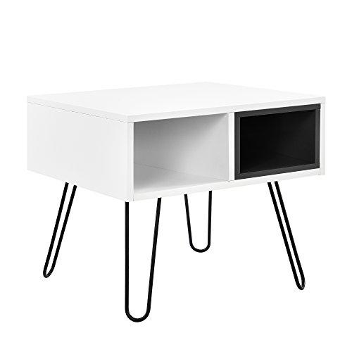 """[en.casa]® Retro-Design Beistelltisch """"Moskau"""" / Konsolentisch / Nachttisch weiß-schwarz (50x50x44cm) - 2 Staufächer"""