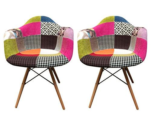 2Stück Sessel/Stühle teppichflächen Design klaren Linien und hervorragende Verarbeitung mit Stoff gepolstert & Füße Buche–Collection Retro–Patchwork