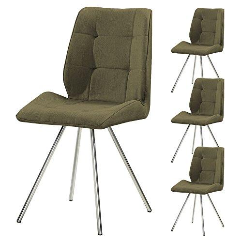 4er Set SVITA Esszimmer-Stuhl Stoffbezug Wohnzimmerstuhl Retro-Design gepolstert Farbwahl (grün)
