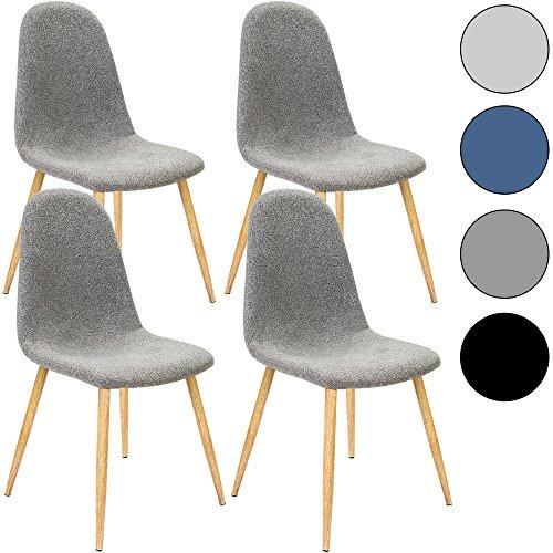 4x Design Stuhl mit Stoffbezug hellgrau - Esszimmerstühle Stühle Designerstuhl Küchenstühle Wohnzimmerstuhl Esszimmerstuhl Polsterstuhl Stuhlgruppe Essgruppe Sitzgruppe Belastbarkeit 120kg 44x53x86cm