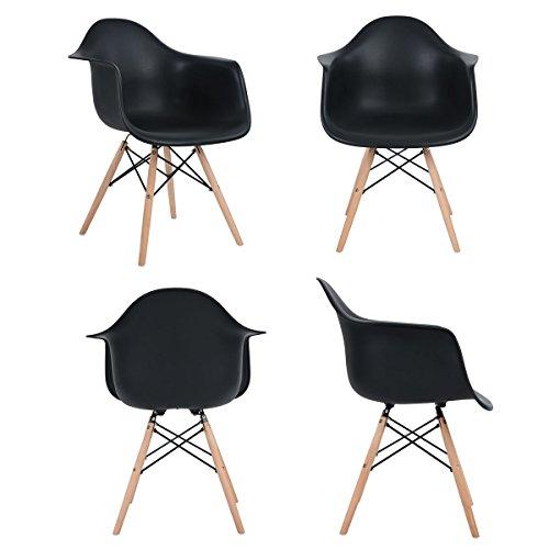 4x Retro Designerstuhl, 4er Esszimmerstühle mit Armlehne , Küchenstuhl mit Lehne & 4 Holz Beinen Design Essstuhl , Schwarz