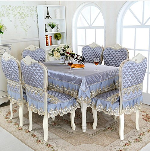 5/7-Stück Luxus Tischdecke Set imitiert Seide Spitze Tischdecke Stuhl Abdeckung für Esszimmer Tisch decken Tischwäsche, Grau, 7 piecs eingestellt