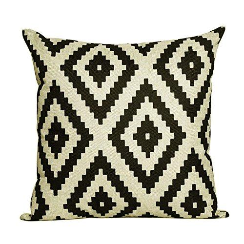 CAOLATOR 45*45cm Baumwolle Retro Geometrie Abstrakte Muster Baumwollmaterial Digital Printing Pillowcase Beige und Schwarz (Ohne Den Kern)
