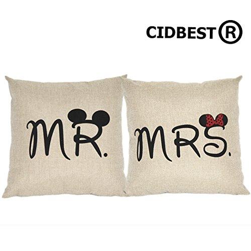 CIDBEST® Mr Mrs Kissenbezüge Liebhaber Hochzeit Kissen retro Baumwolle Kissen Buch Hochzeitsgeschenk Kaffee zuruck hotel Kissenbezug