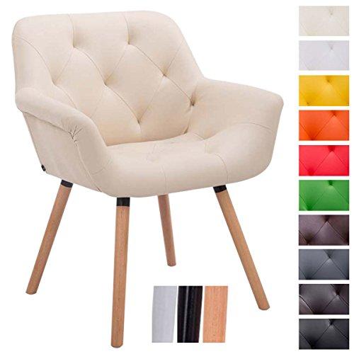 CLP Besucher-Stuhl CASSIDY, Kunstleder-Bezug, belastbar bis 150 kg, Retro-Stuhl mit Armlehne, sesselförmiger Sitz, gepolstert, Sitzhöhe 45 cm Creme, Holzgestell Farbe natura