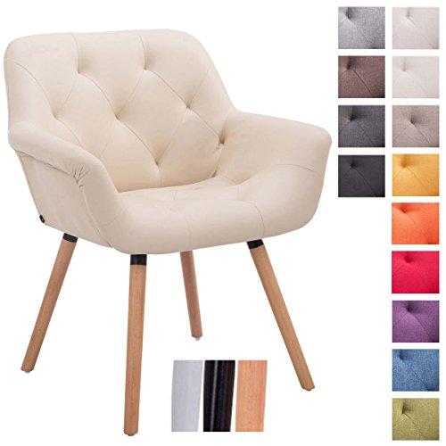 CLP Besucher-Stuhl CASSIDY, Stoff-Bezug, belastbar bis 150 kg, Retro-Stuhl mit Armlehne, sesselförmiger Sitz, gepolstert, Sitzhöhe 45 cm Creme, Holzgestell Farbe natura