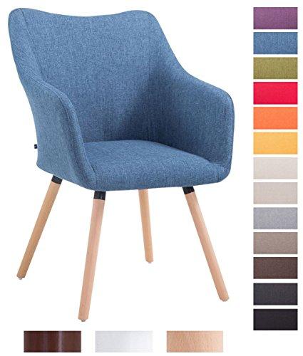 CLP Design Besucher-Stuhl MCCOY V2 mit Armlehne, Stoff-Bezug, Holz-Gestell, Sitzfläche gepolstert Blau, Gestellfarbe: natura