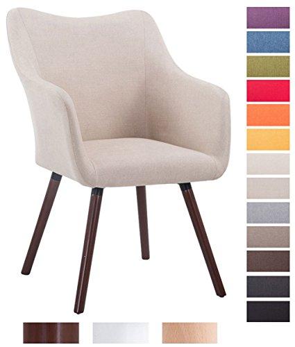 CLP Design Besucher-Stuhl MCCOY V2 mit Armlehne, Stoff-Bezug, Holz-Gestell, Sitzfläche gepolstert Creme, Gestellfarbe: walnuss
