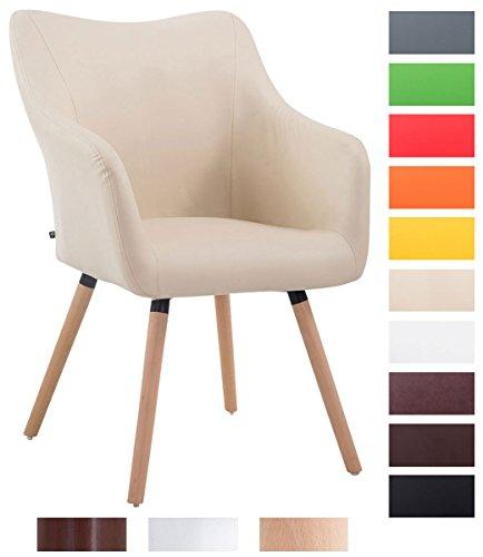 CLP Design Besucher-Stuhl MCCOY V2 mit Armlehne, max. Belastbarkeit 160 kg, Holz-Gestell, Kunstleder-Bezug, gepolstert Creme, Gestellfarbe: natura