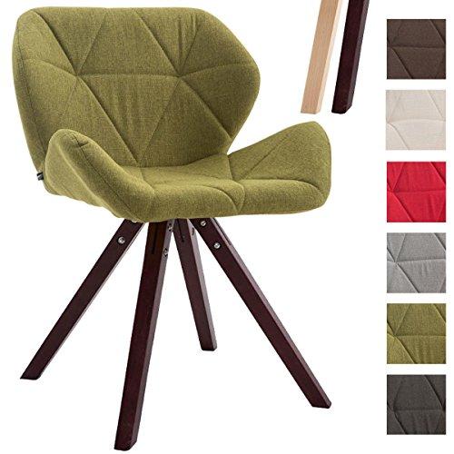 CLP Design Retro-Stuhl TYLER, Bein-Form square, Stoff-Sitz gepolstert, Buchenholz-Gestell, Grün, Gestellfarbe: Cappuccino