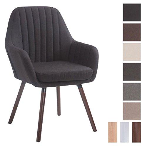 CLP Retro-Stuhl mit Armlehne FLORIAN, Stoff-Bezug, XL bis 160 kg, sesselförmiger Sitz, gepolstert, Sitzhöhe 53 cm Schwarz, Holzgestell Farbe: Walnuss
