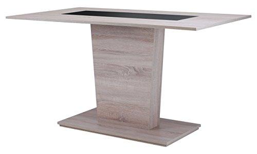 Cavadore Esszimmertisch Venga / Moderner Esstisch mit Melaminplatte in Schwarz-Weiß / Melamin Sonoma Eiche / 110 x 70 x 75 cm (LxBxH)