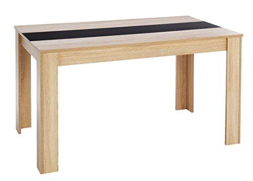 Cavardore Tisch Nico / Moderner Esstisch mit Melaminplatte in Schwarz-Weiß / Melamin Sonoma Eiche / Hellbraun / 140 x 80 x 75 cm (L x B x H)