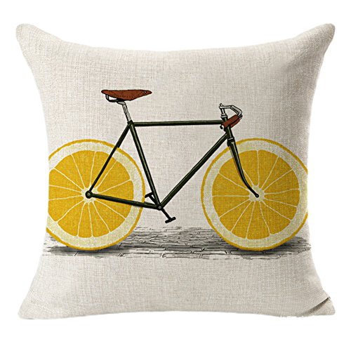 Cdet Kissenbezüge Retro-Kreative Frucht Fahrrad Muster Baumwolle Pillow Cover Haupt Dekoration Kissenbezug Baumwolle Leinen Hochzeits Dekoration Kissenbezug size 45*45cm (B )