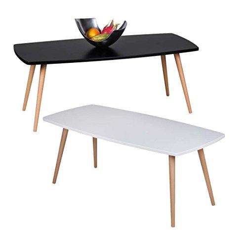 Design Couchtisch SKANDI 110 x 50 x 42 cm Form Rechteckig Skandinavischer Retro Look | Matt Lackierter Wohnzimmertisch mit Holz-Gestell | Wohnzimmer Möbel Tisch | Farbe: Schwarz
